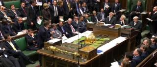 MPs in the House of Commons - the government on the left, opposition on the right