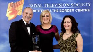Chris Jackson presented with RTS Award by BBC Breakfast's Steph McGovern and Deputy Vice Chancellor of Sunderland University Shirley Atkinson