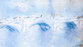 "Photo released by the police in Rotterdam, Netherlands, on 16 October 2012, shows the painting ""Waterloo Bridge, London"" by Claude Monet"
