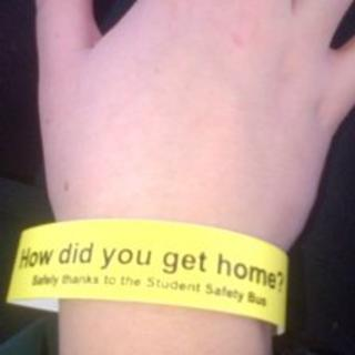 A yellow safety wrist band