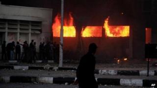 Building ablaze in Port Said, Egypt, on 4/3/13