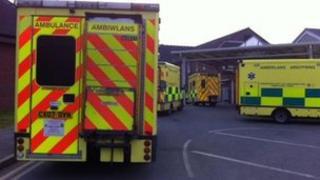 Ambulances queue outside Wrexham Maelor hospital