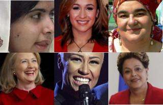 Top left to bottom right: Malala Yousufzai - Reuters, Jessica Ennis - Olympian, Camila Batmanghelidjh - Kid's Company founder, Hillary Clinton, politician - AP, Emile Sande - musician, PA, Dilma Rousseff, Brazil President Reuters