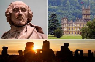 Shakespeare statue, Highclere castle and Stonehenge at sunrise