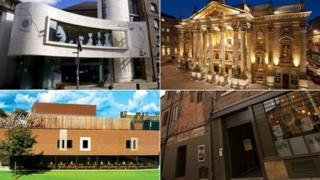 Clockwise from top left: Seven Stories, Theatre Royal, Live Theatre and Northern Stage