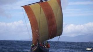 A reconstructed Viking ship
