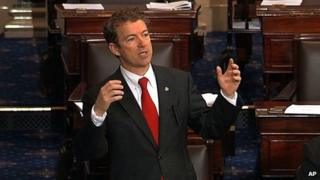 Senator Rand Paul speaking on the floor of the Senate on Capitol Hill in Washington, 6 March 2013