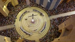 Aerial view of the congregation at the basilica in Aparecida