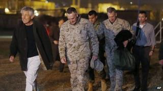 Chuck Hagel, left, with US Marine General Joseph Dunford near Camp Eggers in Kabul. 8 March 2013