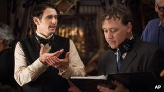 James Franco and Sam Raimi on the set of Oz the Great and Powerful