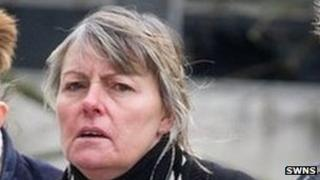 Cleaner, Claire Stevens arrives at Taunton Crown Court.