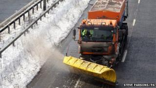 Snow plough on A23 in Sussex