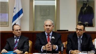 Benjamin Netanyahu at a cabinet meeting (file photo)
