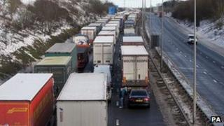 Lorries on the M20 near Folkestone during Operation Stack