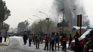 Scene near the bomb attacks in Baghdad. 14 March 2013