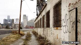 Empty street in Detroit