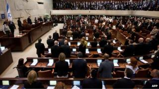 Inauguration session of the new Knesset in February 2013