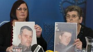 Sean Thompson's sister Ruth Thompson-Douglas and mother Jean showing a picture of him at the time he went missing and a computer-generated image of how he may look now