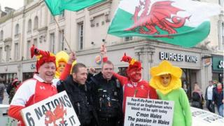 Police picture tweeted with rugby fans in Cardiff