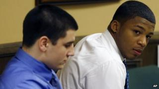 Trent Mays (l) and Ma'lik Richmond in court, 15 March 2013