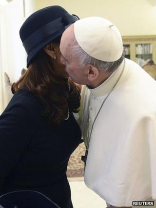Argentine President Cristina Fernandez de Kirchner and Pope Francis, 18 March 2013