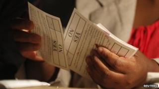 A Zimbabwean election official counts ballot papers after the close of voting on a referendum in Harare, 16 March 2013