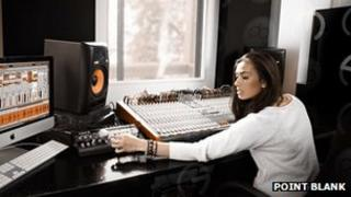 Student at mixing desk