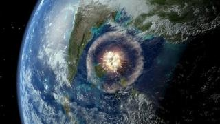 An artist impression of the impact the space rock may have had on earth.
