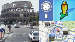 Images from Google map of the Colosseum in Rome