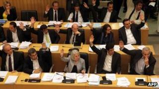 Cypriot parliament voting, 22 March 2013