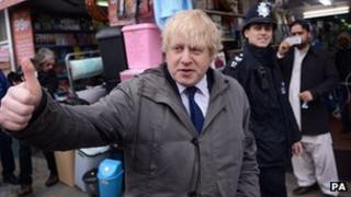 Boris Johnson on the streets of Hackney for the launch of the Police and Crime Plan