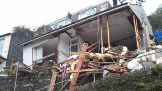 The landslip and damage to Veronica Flats in Looe
