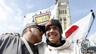 David Kawapit after finishing a 1600km (994 mile) trek to Ottawa, Canada 25 March 2013