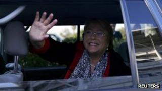 Former Chilean president Michelle Bachelet waves out of car