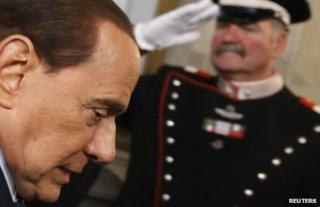 Silvio Berlusconi at the Italian presidential palace in Rome, 29 March