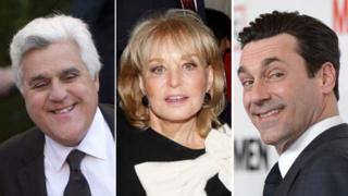 Jay Leno, Barbara Walters and Jon Hamm