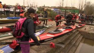 Competitors prepare for the race on Saturday morning