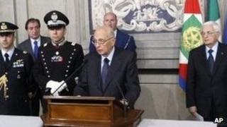 President Giorgio Napolitano addressing the media