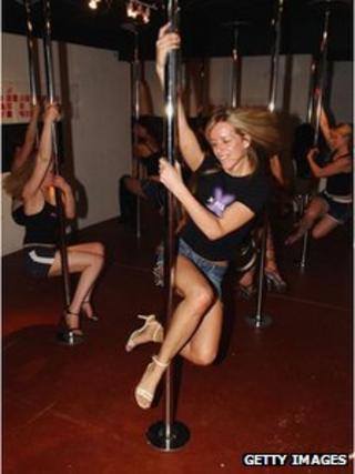 Pole dancers in London