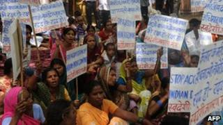 Activists demonstrate against Novartis in New Delhi - July 2012