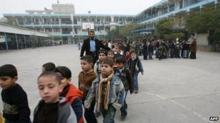 Palestinian schoolboys at a UN-run school in Beit Lahiya in the northern Gaza Strip, file pic from 2009