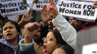Protesters demand better safety for women at a demonstration in Delhi on 27 Dec 2012