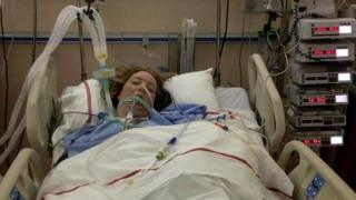 Natalie Creane in a hospital bed