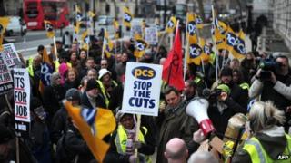 Members of the PCS Union rally outside the Cabinet Office