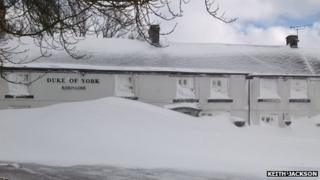 The Duke of York pub covered in snow
