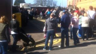 The queue for MMR vaccinations snaking around Morriston Hospital in Swansea