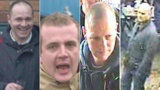 CCTV images of the four men police want to speak to in connection with a disorder at a football match at the Kassam Stadium
