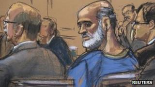 An artist sketch shows Sulaiman Abu Ghaith, at a hearing in a Manhattan federal court in New York on 8 April 2013