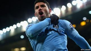 Sergio Aguero of Manchester City celebrates scoring