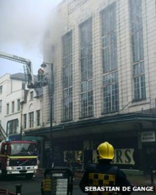 Fire at the building on Oldham Street, Manchester